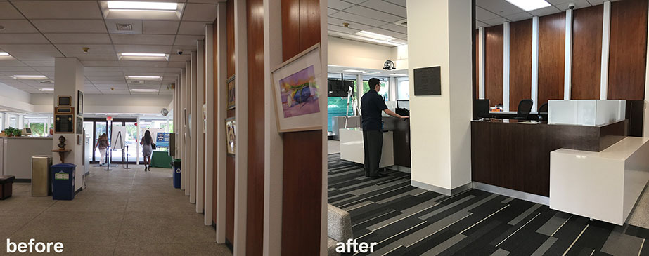 Fort Lauderdale's City Hall lobby before & after